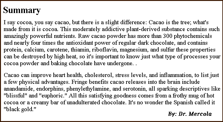 Natural Organic Dr. Mercola Cacao