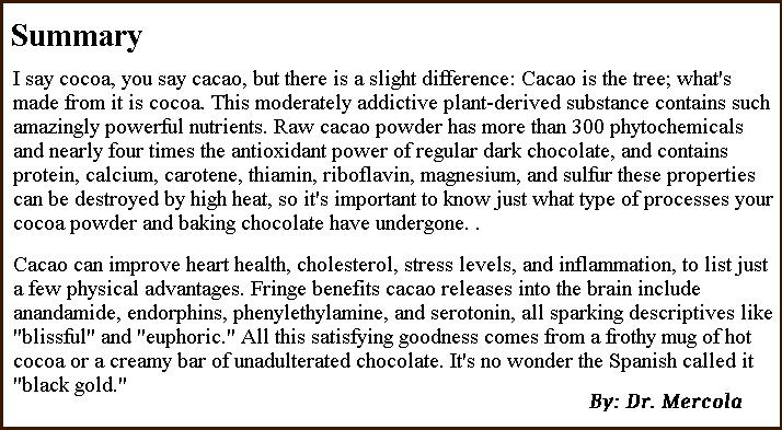 Natural Organic Dr. Mercola Cacao