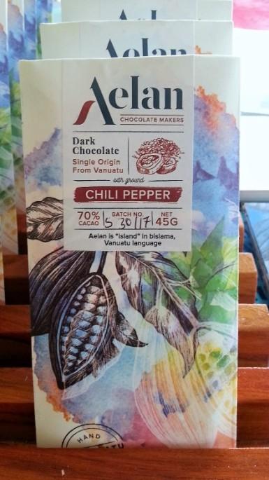 Naturally Organic Aelan Chocolate with Chilli Pepper Vanuatu Artisan Chocolate