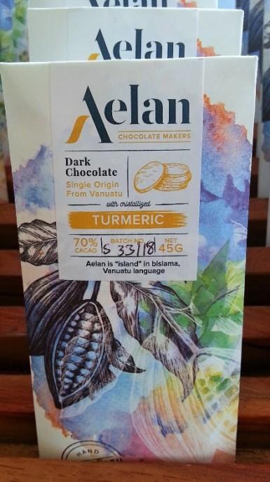 Shop Buy Organic Aelan Dark Chocolate with Crystallised Turmeric