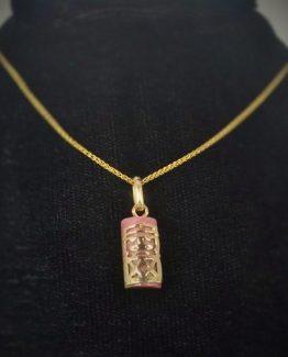 Precision Cut 9k Gold Mini Tribal Tabu on Rhodonite Emotional Healing Gem Mineral Pendant