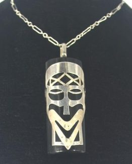 Sterling Silver Tribal Mask and Black Onyx Healing Stone Powerful Pendant