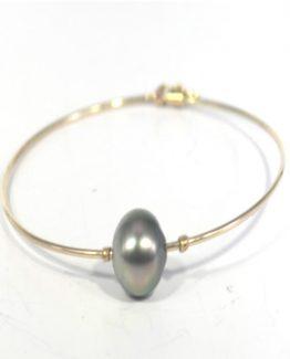 Tahitian Pearl 9K Gold Bangle Bracelet