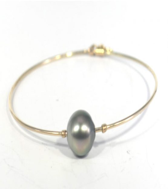 Tahitian Pearl 9K Gold Bangle Bracelet