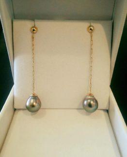 Tahitian Pearl 14K Gold Chain Drop Earring
